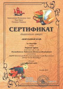14_Зверевой Арине_Декабрь 2015_Сертификат